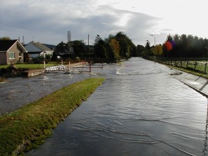 Road flooding in Tarland village